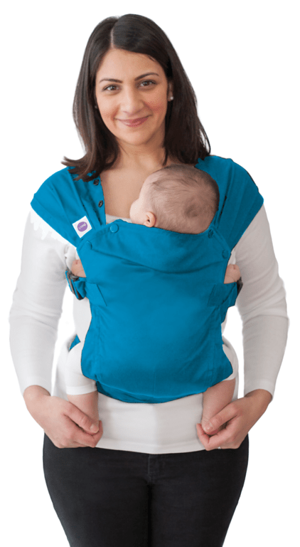 Izmi baby carrier in Teal. Light, suitable from newborn